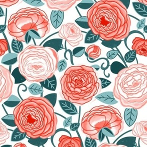 Teal & Pink Climbing Rosa Vines  (Small Scale)