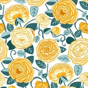 Teal & Mustard Climbing Rosa Vines (Small Scale)