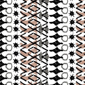 Abstract ethnic boho tribal pattern geometric texture grunge crayons ink. black gray White brown