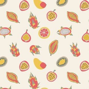 Adstract tropical fruits and shapes seamless