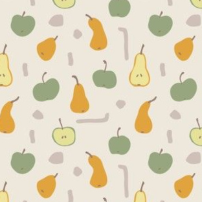 Abstract autumn seamless. Apple and pear fruits