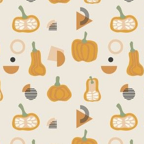 Abstract autumn seamless. Pumpkin and geometry stripes