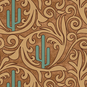 Wild West- Saguaro Tooled Leather Pattern- Verdigris Wheat Brown Leather Texture- Large Scale