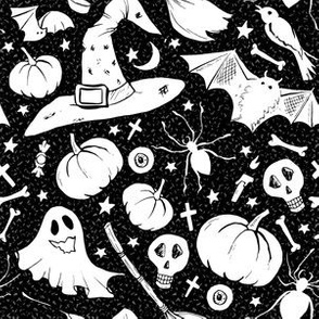 Doodles on Black. Haloween seamless vector pattern