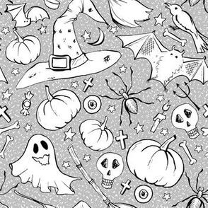 Halloween Contour Drawing Doodles