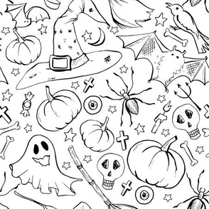 Halloween Outline Doodles