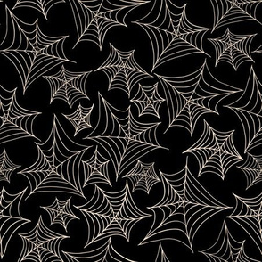 SpiderWeb on black. Haloween seamless vector pattern