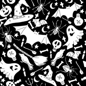 Outline doodles on black. Haloween seamless vector pattern