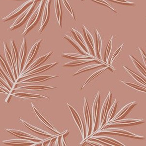 Tropical palm leaves on light pink modern background. Vector seamless pattern