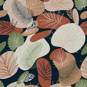 Tropical forest vector seamless pattern with exotic palm leaves and abstract brown, beige spots on black
