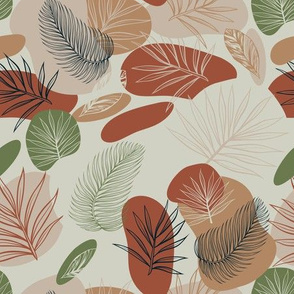 Tropical forest vector seamless pattern with exotic palm leaves and abstract brown, beige spots, sand color