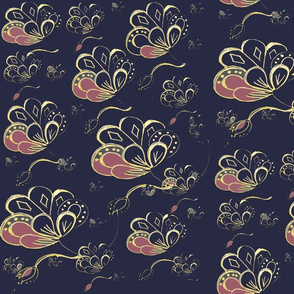 Art Nouveau Bohemian Eastern Flowers - Plum  &  Gold  On Navy Blue