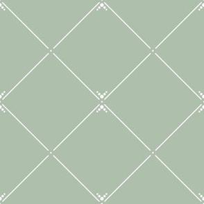 Lovely Trellis Dark: Powdery Green & White Latticework