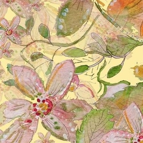 Watercolor Painting - Autumn Floral On Cream- Fat Quarter Projects