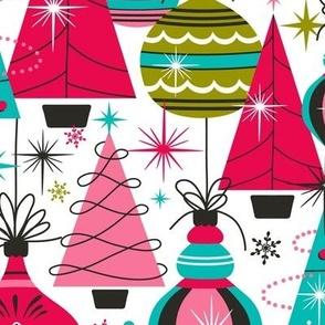 Deck The Halls - Maximalist Christmas White Retro Multi Large Scale