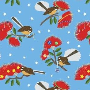 New Zealand Fantails Decorating Christmas Pohutukawa Tree BLUE