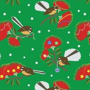 New Zealand Fantails Decorating Christmas Pohutukawa Tree GREEN