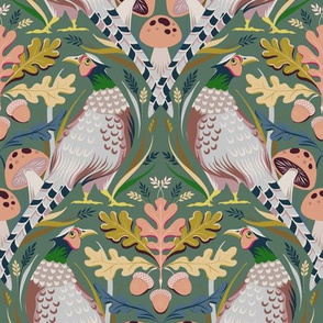 Autumn Pheasants in Green and Pink