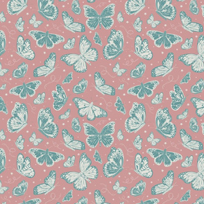 Monarch Butterfly whimsical hand drawn seamless pattern with lots of textures