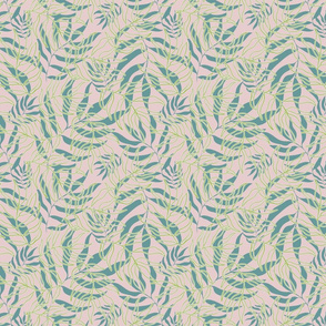Palm tree leaves tropical exotic pattern