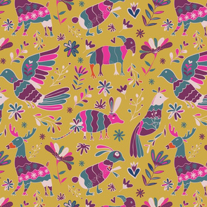 Seamless Mexican Otomi Style colorful folk Pattern