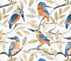 Kingfisher pattern watercolor on white big scale
