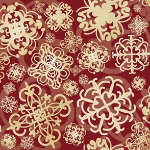 Christmas Glitter-Snowflakes-Red/Gold