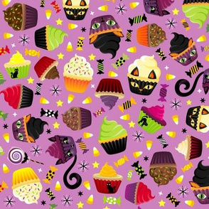 Spooky Kitty Cat Cupcakes Purple