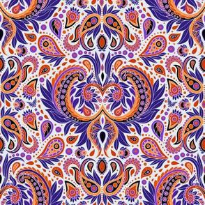 Paisley Pattern in Purple, Orange & White