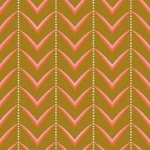 Herringbone Stripe - on Dark Gold