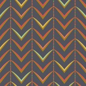 Herringbone Stripe - Multi on Charcoal
