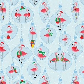 Flamingo Christmas Ornaments in Blue