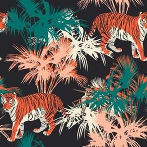 Tiger in the jungle. Night