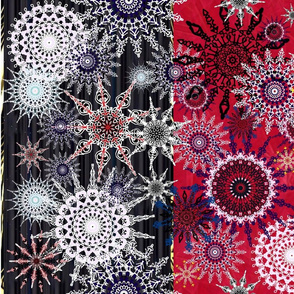 Snowflake Indulgence (red & black background)