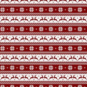 Dark Christmas Candy Apple Red Nordic Reindeer Stripe