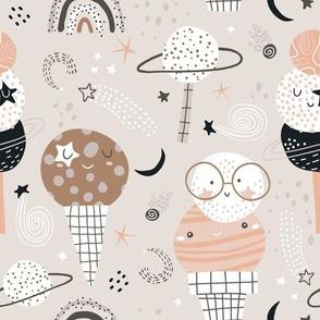 Cute ice cream planets