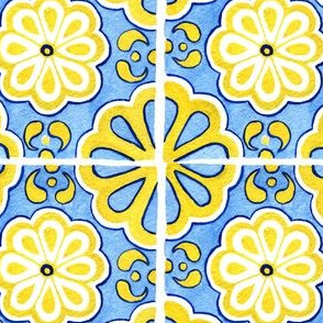 Sunny Yellow Tiles with Blue Fill