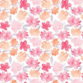 Watercolor pink and peach florals
