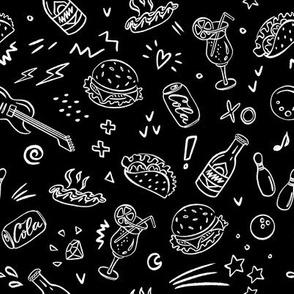 Fast food tasty pattern on black
