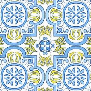 Geometric Flowers Azulejo Tile
