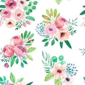 watercolor floral pattern with white background