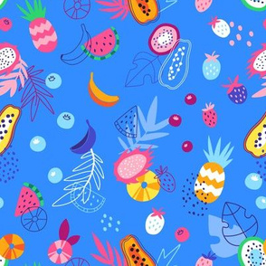 bright blue tropical pattern