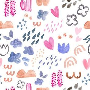 naive gouache girls pattern