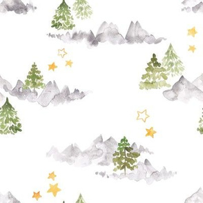 watercolor mountains cute pattern