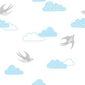 cute baby pattern with swallows and clouds