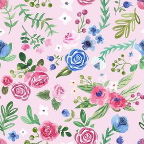 watercolor floral pattern on pink background
