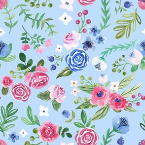 watercolor floral pattern on blue background