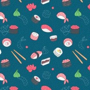 Asian food, sushi cute pattern