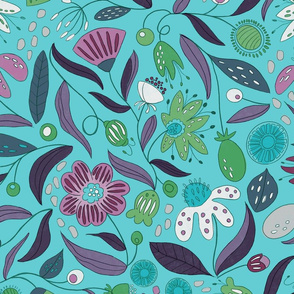 Crazy Flowers - Turquoise - Max