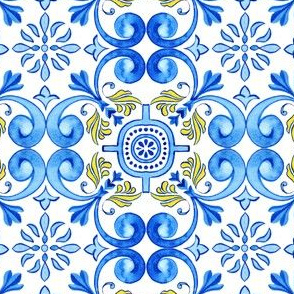 Watercolor Azulejos with Blue Curls
